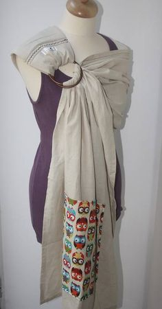 Bandolera artesanal en mezcla de lino y algodón con bolsillo.