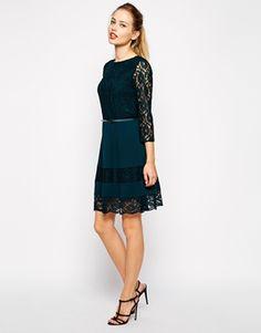Enlarge Oasis Lace Belted Skater Dress