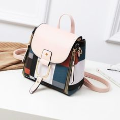 KM Mini Backpack Women Soft Touch MultiFunction Small Backpack Leather Shoulder Bag Crossbody Bag Purses Color Black matching white Work Handbag, Shoulder Bags For School, Small Backpack, Travel Backpack, Mini Backpack Purse, Travel Bags, Fashion Backpack, Designer Shoulder Bags, Girl Backpacks