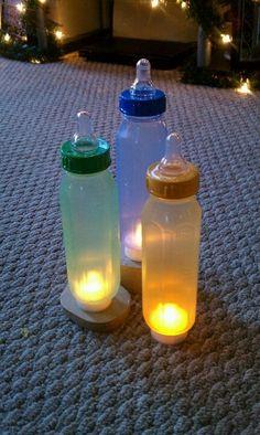 Biberones luminosos para Baby Shower