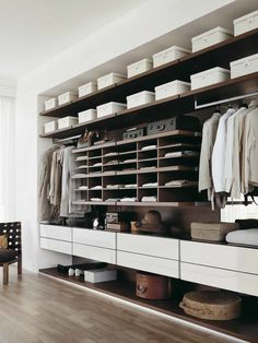 CLOSETS Design Idea Finished With Wooden Flooring And Brown Shelving Unit Finished