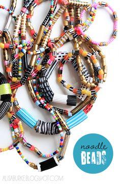 noodle beads (kids craft) necklaces - tutorial by alisa burke Crafts For Kids To Make, Craft Activities For Kids, Art For Kids, How To Make, Motor Activities, Classroom Activities, Craft Ideas, Marker, Alisa Burke