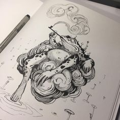 "🖤 LOVE FROGS 🖤 Last week had a visit from and ask me to draw something in his ""blackbook"". Here's the Smoking Frog I did… Japanese Drawings, Japanese Tattoo Art, Japanese Tattoo Designs, Japanese Art, Japanese Dragon, Frog Tattoos, Cute Tattoos, Body Art Tattoos, Dragon Tattoos"
