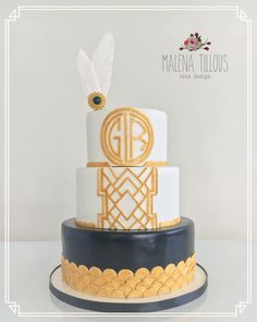 Art deco cake with monogram for engagement party