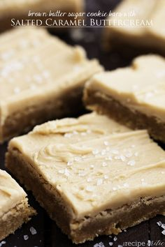 Brown Butter Sugar Cookie Bars with Salted Caramel Buttercream | The Recipe Critic