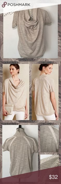 "~Anthro Knitted&Knotted Cowl Shimmer✨Crochet Top~ From Anthropologie by Knitted & Knotted, this size Medium (8-10), ""Cowled Celise Pullover"" is completely comfortable w/a shimmer/sparkle/shine that makes it easy to go from day to night.  •Cowled Neck, Ruffled; Short/Dolman Sleeve Style Sweater/Blouse/Top •Breathable, Light/Airy, Relaxed Feel •Beige w/Silver Sparkle/Shimmer Thread •Crochet Lace Inserts on Back •Pics do not do this top justice; So pretty! Anthropologie Tops"