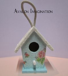 Glitter Birdhouse Shabby Chic Home Decor Accessory Ornament in aqua with pink roses. , via Etsy.
