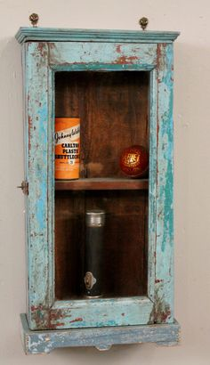Vintage Reclaimed Wood Blue Turquoise Distressed Chippy Hanging Wall Curio E Rack Kitchen Bathroom Storage Cabinet