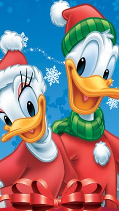 CHRISTMAS DONALD AND DAISY DUCK, IPHONE WALLPAPER BACKGROUND