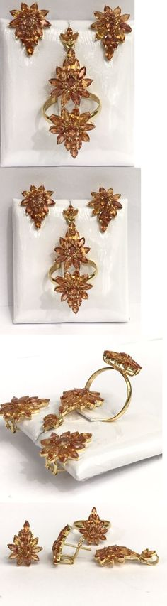 Diamonds and Gemstones 164326: 14K Solid Gold Pear Shape Set Earrings Ring Pendant, Natural Orange Sapphire 9Ct -> BUY IT NOW ONLY: $390 on eBay!