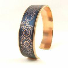 Dr Who Blue Police Box Brass Cuff Bracelet by JezebelCharms
