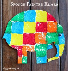 Sponge painted Elmer the elphant from Buggy and Buddy