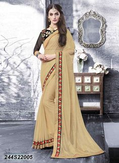 Beautiful Beige Coloured Lycra Net Embroidered Saree