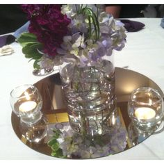 Beautiful centerpieces at my friends' wedding