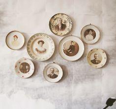 vintage family photos on plates