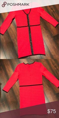 ac0ff4c7968 Bebe dress with leather trim! Size Large! Bebe dress with leather trim! Size