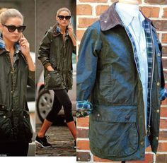 Very Nice BARBOUR Green short BORDER WAXED Jacket Mens Sz 36 Womens Sz 8 #Barbour #BasicJacket