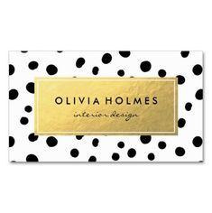 Black & Gold Dot Spot Pattern Business Card