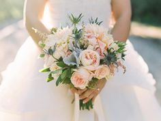 "blush and powder blue bouquet // wedding flowers // cafe au lait dahlias // Linda Robles McKeague on Instagram: ""@laceandstems #erinjsaldanaphotography #honeybearsunite @erinjsaldana"""