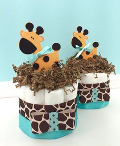 Diaper Cake Mini Giraffe Baby Shower Diaper Cake Light Turquoise And Giraffe  Baby Shower Centerpiece