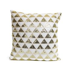 Gold & White Sequin Triangle Print Cushion - Chickidee Homeware