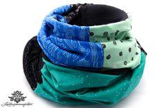 Patchwork-Schal ... kuschelig warm von #Lieblingsmanufaktur: schwarz, blau, türkis