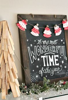 Christmas chalkboard with cupcake liner Christmas tree banner.