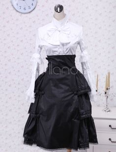 Steampunk Clothing, Costumes, and Fashion. White And Black Ruffles Cotton Steampunk Blouse And Skirt $82.99 #steampunk