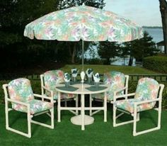 A Complete Set Of 4 Clic Style Chairs And Table All Furniture Is Made With Grade Pvc Pipe At Heavily Ed Prices