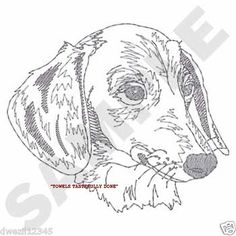 DACHSHUND SKETCH - UNIQUE & CUSTOM - 2 EMBROIDERED HAND TOWELS by Susan