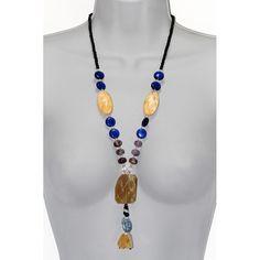 Collar Largo de Piedra Natural Onix, Cuarzo Rutilado, Cuarzo Azul y Jaspe