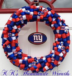 New York Giants Ribbon Wreath - def making this for football season!