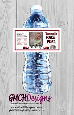 Race Car Personalized WATERPROOF Water Bottle by GMCHDesigns
