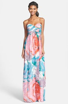 60833027929 Donna Morgan  Laura  Print Strapless Sweetheart Chiffon Gown