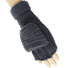 Gray Thick Knit Convertible Half Fingerless Mitten « Clothing Impulse