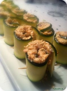 Zucchini rolls with salmon filling  #lchf