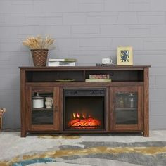 Pelayo Solid Wood Coffee Table With Storage In 2020 Electric Fireplace Tv Stand Electric Fireplace Fireplace Tv Stand