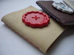 Small Leather Notebook Journal with Giant Flower Button