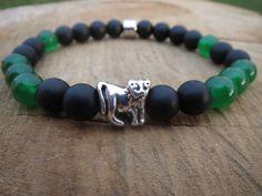 Green Jungle Mens Bracelet Men Lion Onyx Jade by BohemianChicbead #lion #mensjewelry #shophandmade