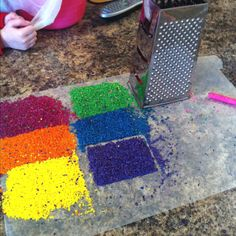 Cheap Grater=Quick way to shave crayons for melted crayon/wax paper crafts!