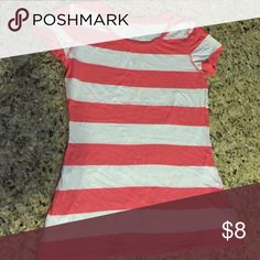 Short sleeve coral & white Express top! Short sleeve t with coral and white stripes! Like new, size M Express Tops Tees - Short Sleeve