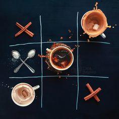 """Coffee wins"" by Dina Belenko - #fstoppers #Food #coffeebreak #game #Tic-tac-toe #Splash #motion #highshutterspeed #milk #sugar #Drink"