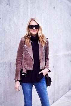 fashion-jackson-blanknyc-morning-suede-moto-jacket-black-turtleneck-sweater-denim-jeans-black-sunglasses