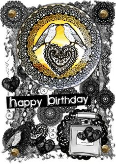 Birthday Card With Yellow Love Birds Magnet