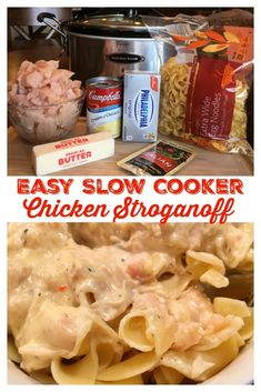 EASY SLOW COOKER CHICKEN STROGANOFF - Awesome slow cooker meal the whole family will love including the kiddos, that will have them coming back for more! Just a few ingredients and minutes to throw together, this is a recipe you