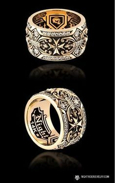 """Gothic Jewelry Rings NightRider Jewelry """"Dominion"""" Band Ring in Gold and Diamonds Three Stone Engagement Rings, Diamond Engagement Rings, Solitaire Engagement, Fashion Rings, Fashion Jewelry, Gothic Men, Gold Chains For Men, Best Jewelry Stores, Gothic Jewelry"""