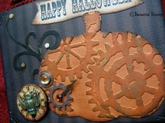 Steampunk Halloween Greeting Card  Victorian Steam Pumpkin Patch by Immortal Visions, $8.50