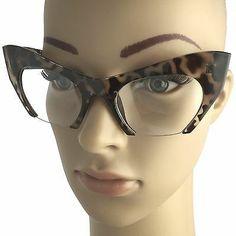 Cat Eye Eyeglasses Women Retro Vintage Razor Clear Lens Style Half Cut Off Frame Cool Glasses For Men, Glasses Frames Trendy, Funky Glasses, Fashion Eye Glasses, Cat Eye Glasses, Vaughan, Eyeglasses For Women, Retro Vintage, Eyewear