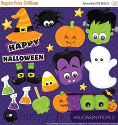 80% OFF SALE Halloween props 2 clipart by Prettygrafikdesign