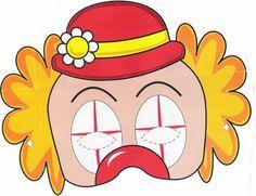 Maestra de Infantil: Payasos. Caretas para imprimir. Dibujos para colorear. Clown Mask, Send In The Clowns, Mask For Kids, Donald Duck, Ronald Mcdonald, Disney Characters, Fictional Characters, Carnival, Printables